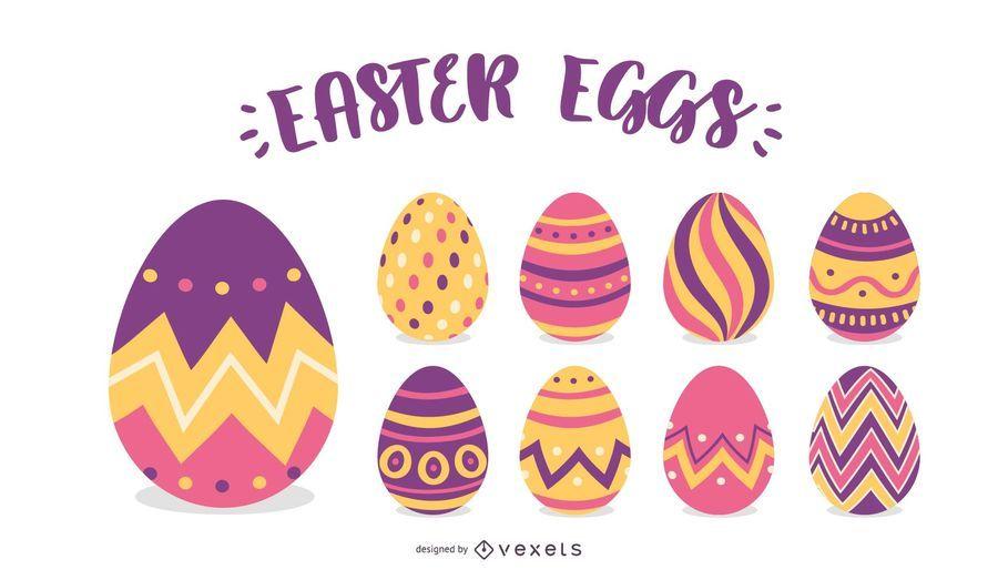 Conjunto de ilustração de ovos de Páscoa