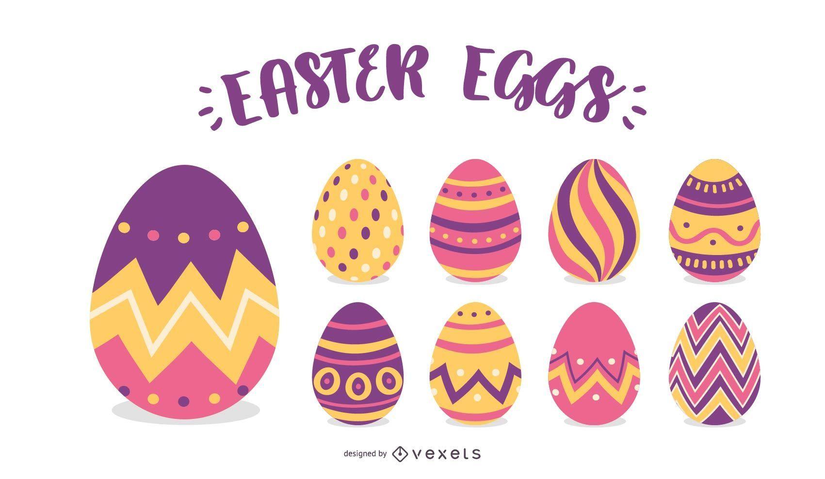 Easter Eggs Illustration Set