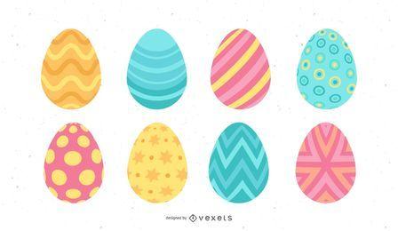 Conjunto de ovos de páscoa em cores pastel