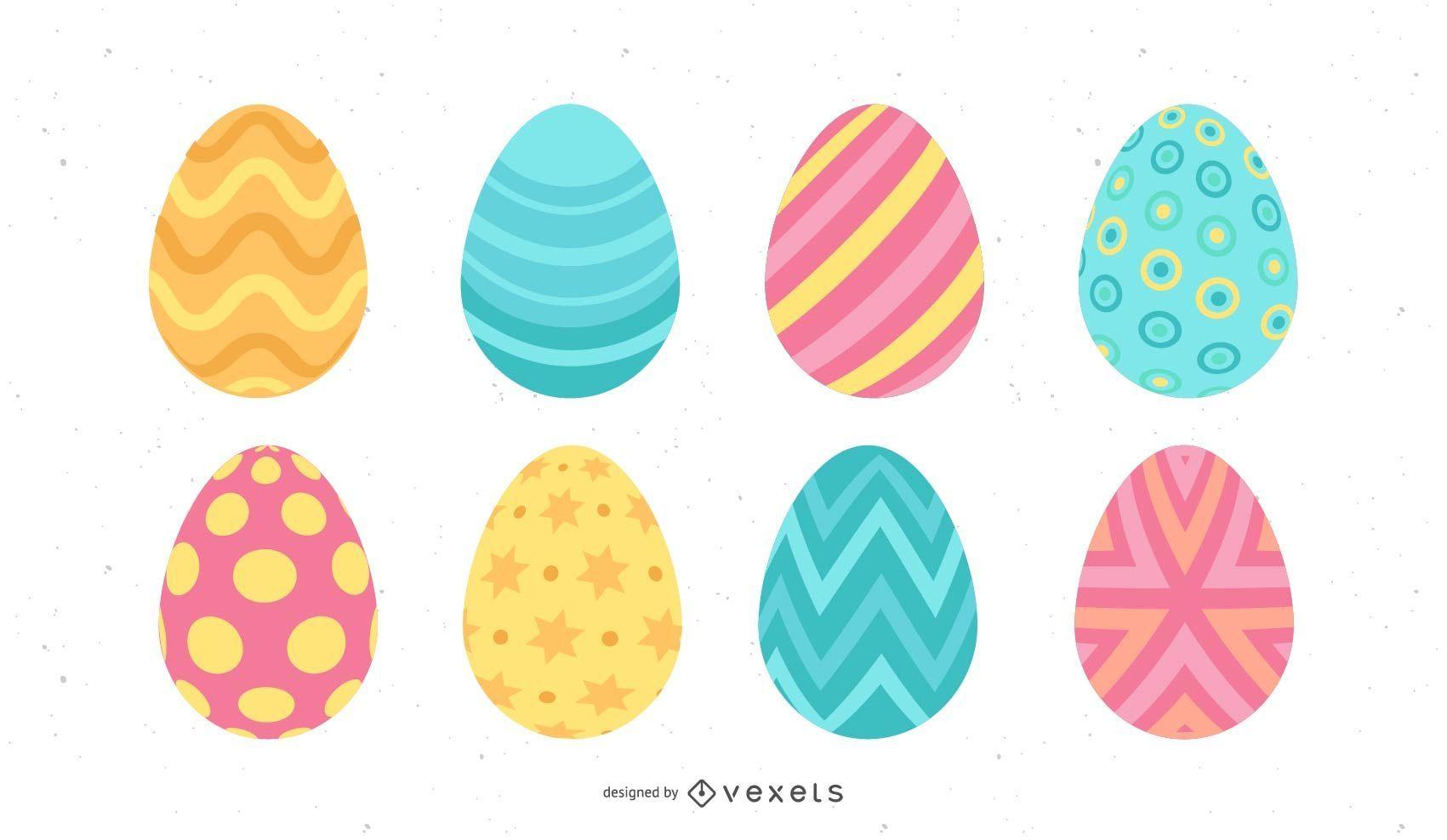 Conjunto de huevos de Pascua de colores pastel