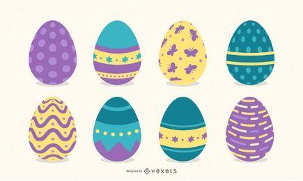 Conjunto de ilustrações de ovo de Páscoa em pastel