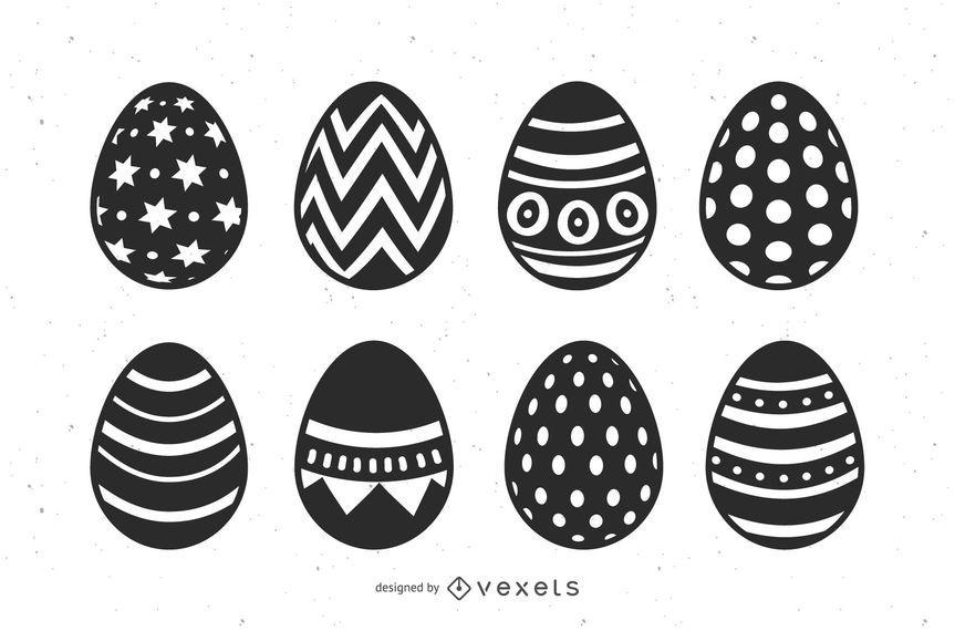 Conjunto de ovos de Páscoa preto e branco