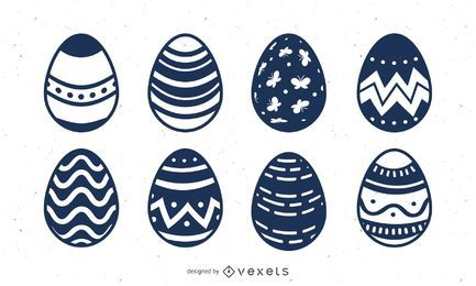 Conjunto de ovos de Páscoa de mão desenhada