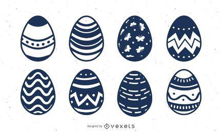Set de huevos de Pascua dibujados a mano