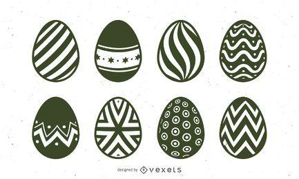 Conjunto de ilustração de ovo de Páscoa de mão desenhada