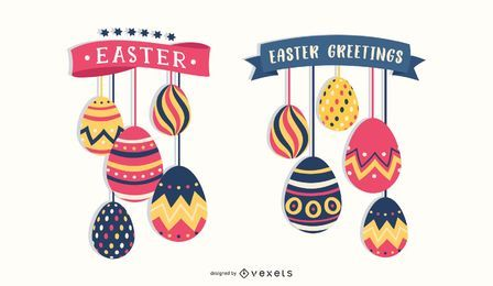 Hanging Easter Eggs Set