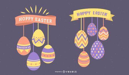 Fröhliche Ostern-Hängende Eier eingestellt