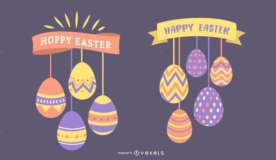 Feliz Pascua Huevos Colgantes Set