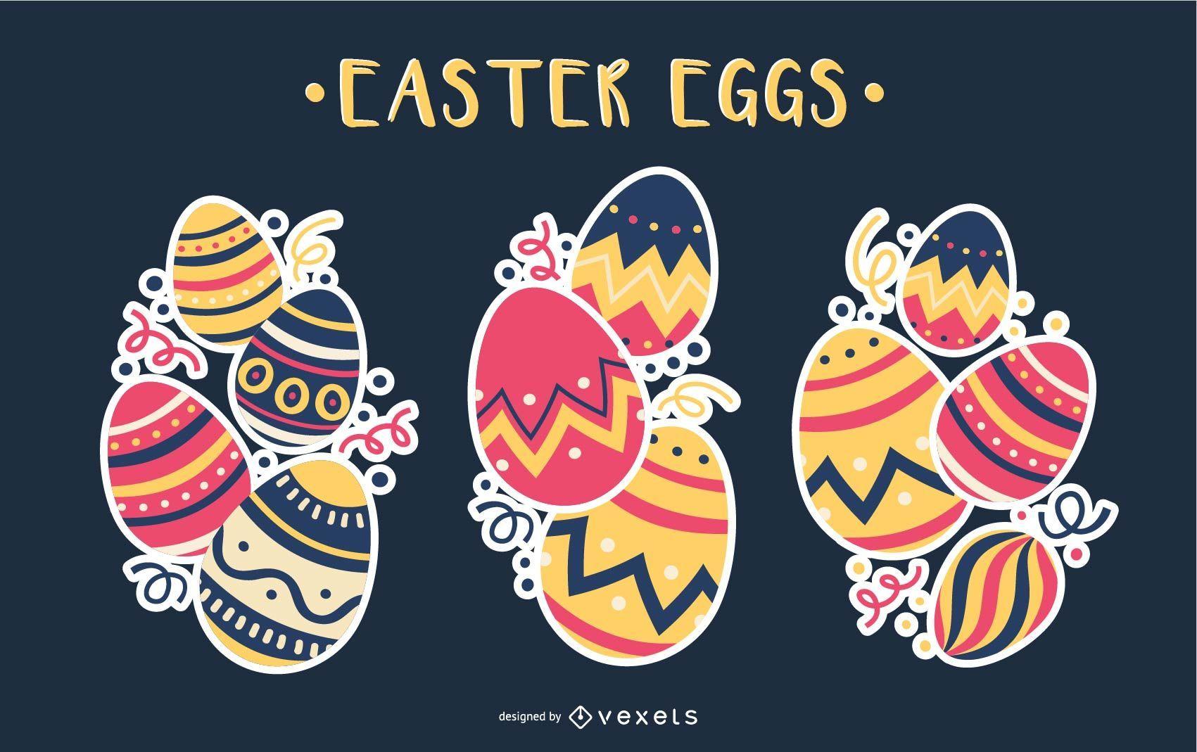 Conjunto de ilustración de pila de huevos de Pascua