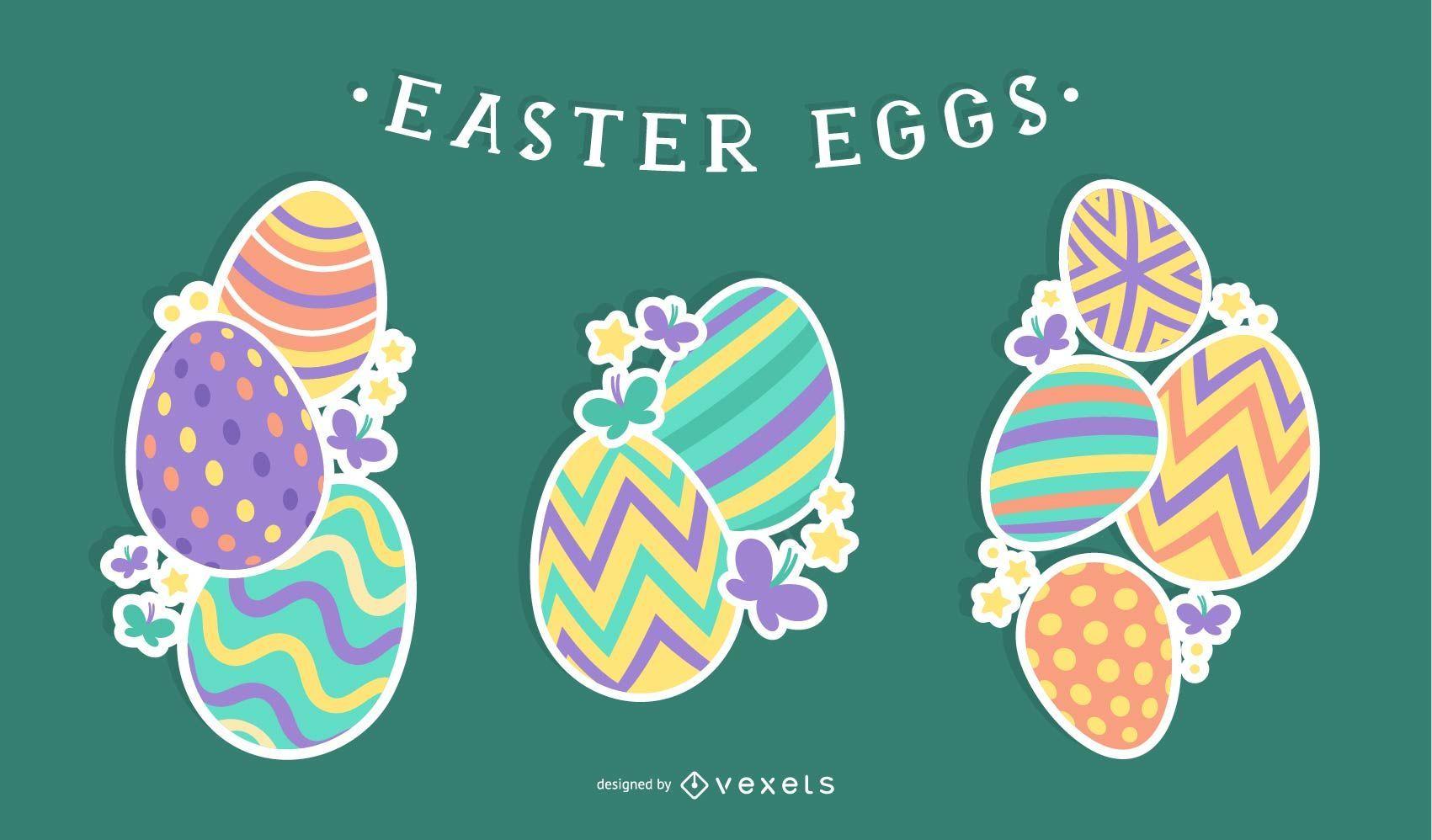 Ilustración de pila de huevos de Pascua