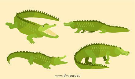 Conjunto de ilustração de jacaré plana