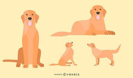Conjunto de ilustración de perro plano