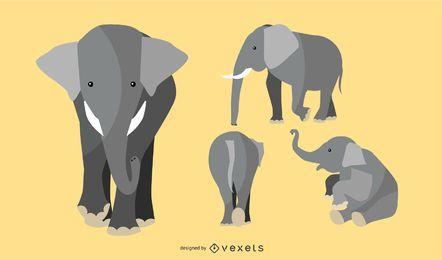 Flacher Elefant-Illustrations-Satz