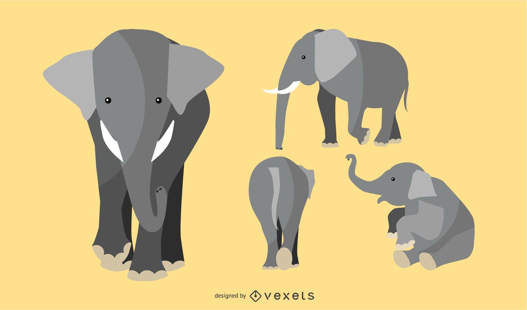 Flat Elephant Illustration Set