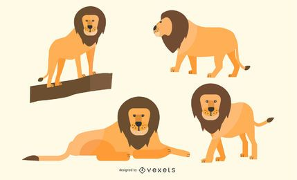 Flat Lion Illustration Set
