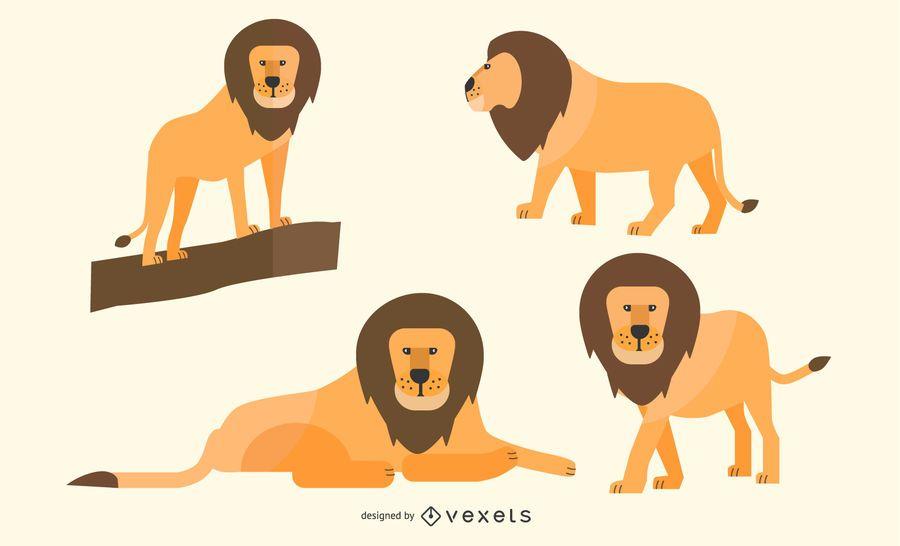 Flat Lion Illustration Set