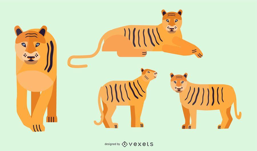 Design de ilustração de tigre plana