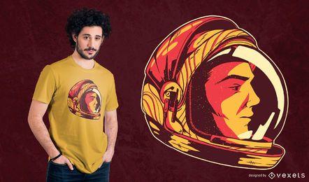 Diseño de camiseta de astronauta con casco