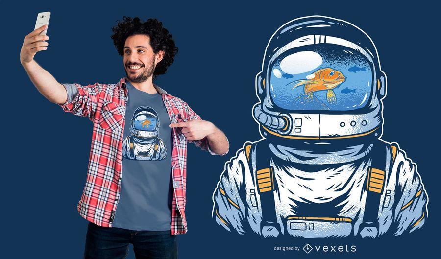 Projeto do t-shirt do astronauta de Fishbowl