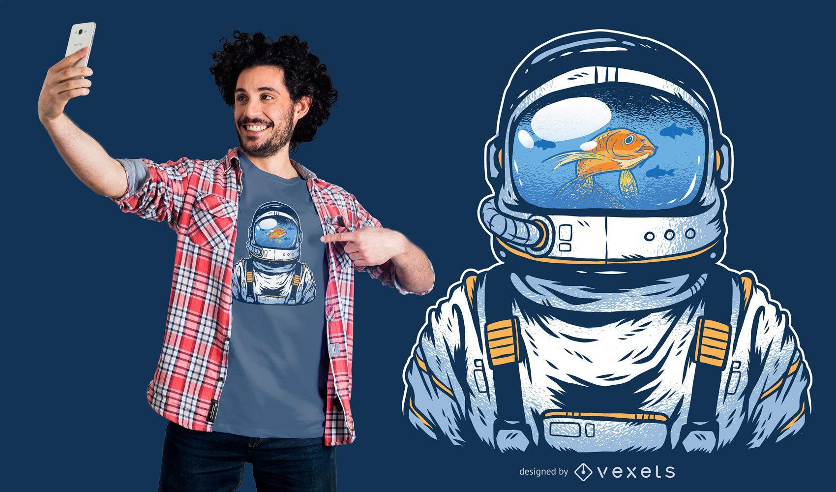 Diseño de camiseta de astronauta de pecera