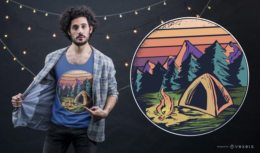 Diseño de camiseta de camping al aire libre