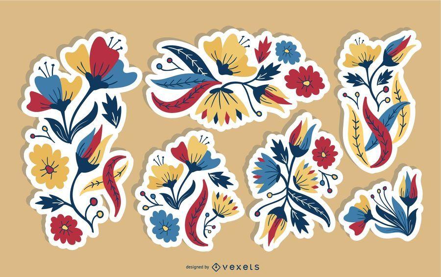 Blumen-Patches-Illustrationssatz