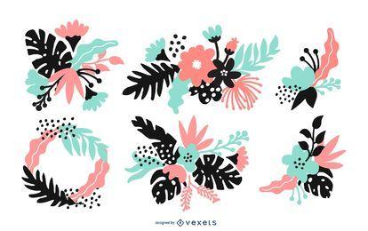 Conjunto de ilustração de arranjo de flor