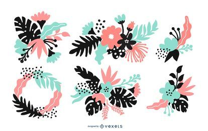 Flower Arrangement Illustration Set