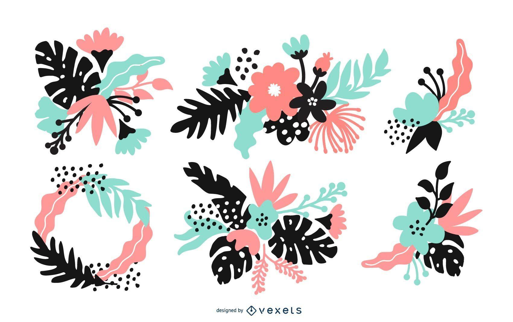 Conjunto de ilustración de arreglo floral