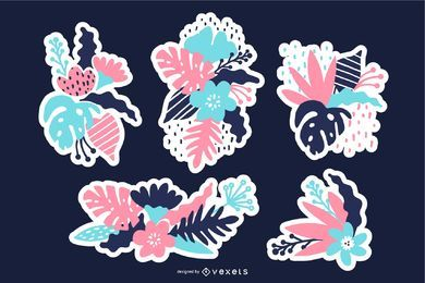 Conjunto de ilustración de parches florales