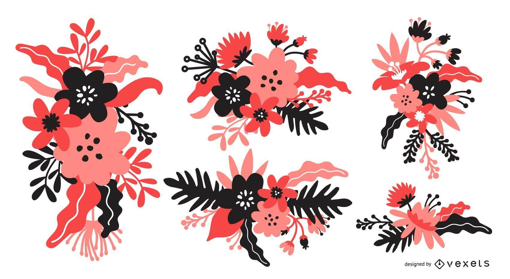 Conjunto de ramo de flores