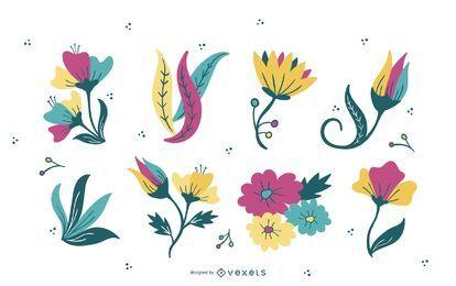 Conjunto de ilustração de flor e folhas