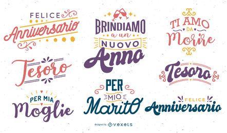 Conjunto de letras de aniversario italiano
