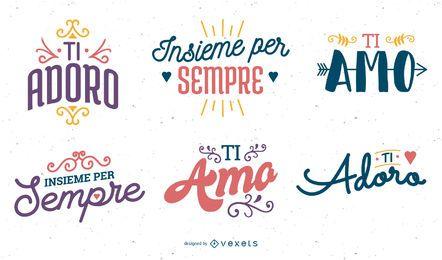 Conjunto de saludo de aniversario italiano