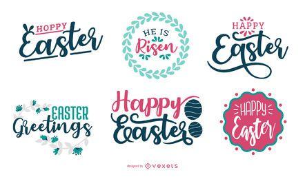 Feliz Páscoa Saudação Set