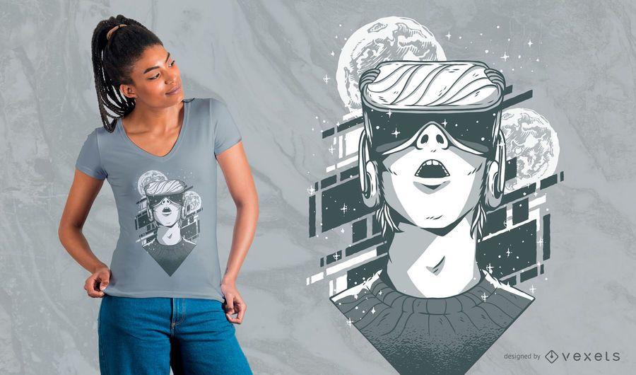 Diseño de camiseta de realidad virtual VR