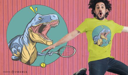 Tennis T-Rex T-Shirt Design