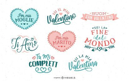 Italienischer Valentine-Beschriftungssatz
