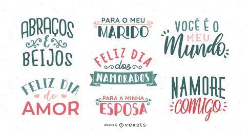 Conjunto de letras portuguesas del día de San Valentín