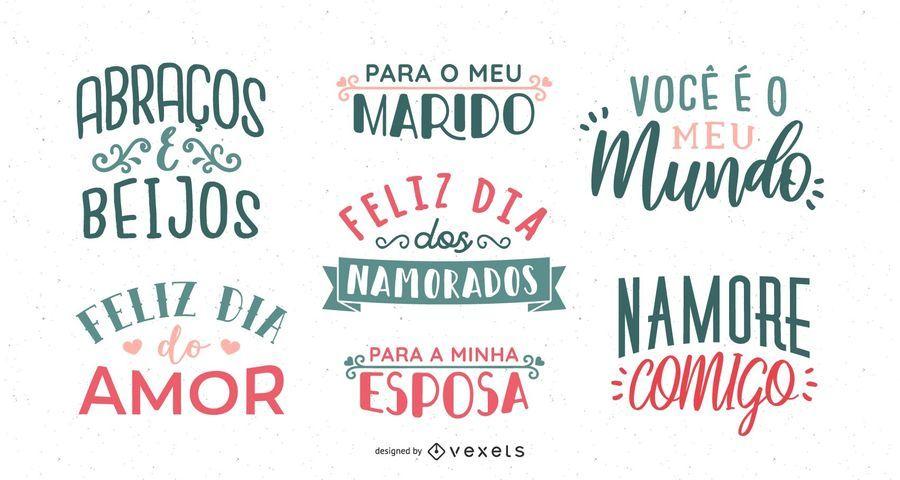 Portugiesischer Valentinstag-Beschriftungssatz