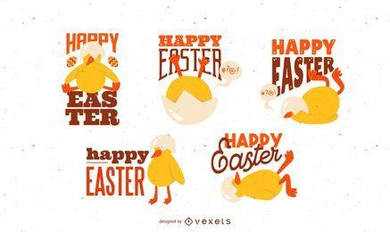 Diseño de letras de pollito de Pascua