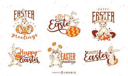 Conjunto de saludo de conejito de Pascua