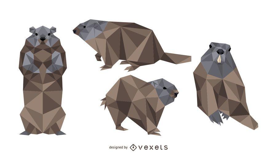 Diseño de vector de marmota poligonal