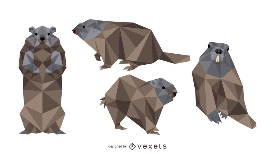Polygonal Groundhog Vector Design
