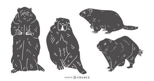 Conjunto de silhueta detalhada da marmota