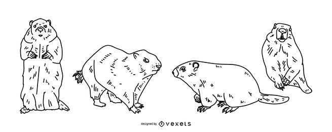 Juego de estilo de trazo de marmota