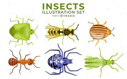 Conjunto de ilustração de insetos