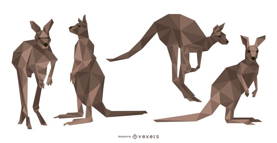Vetor de canguru poligonal