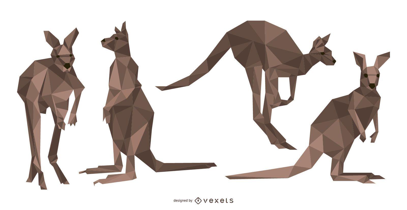 Polygonal Kangaroo Vector
