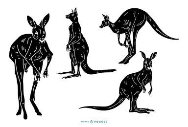 Detailed Kangaroo Silhouette Set